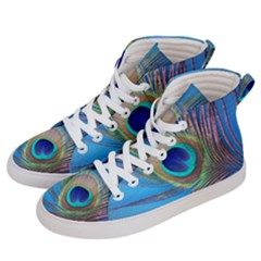 Peacock Feather Blue Green Bright Women s Hi Top Skate Sneakers by Jojostore