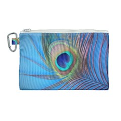 Peacock Feather Blue Green Bright Canvas Cosmetic Bag (large) by Jojostore