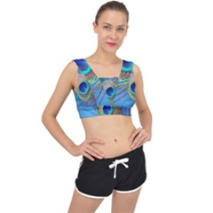 Peacock Feather Blue Green Bright V Back Sports Bra