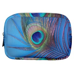 Peacock Feather Blue Green Bright Make Up Pouch (small)