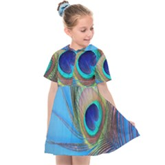 Peacock Feather Blue Green Bright Kids  Sailor Dress by Jojostore