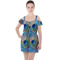 Peacock Feather Blue Green Bright Ruffle Cut Out Chiffon Playsuit