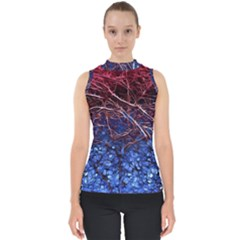 Autumn Fractal Forest Background Mock Neck Shell Top