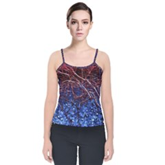 Autumn Fractal Forest Background Velvet Spaghetti Strap Top