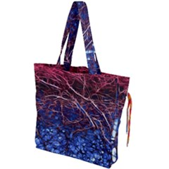 Autumn Fractal Forest Background Drawstring Tote Bag by Jojostore