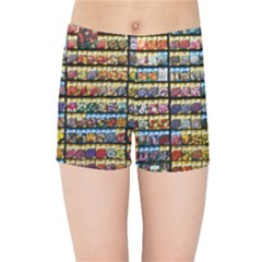 Flower Seeds For Sale At Garden Center Pattern Kids Sports Shorts