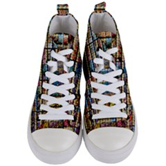 Flower Seeds For Sale At Garden Center Pattern Women s Mid Top Canvas Sneakers