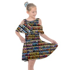 Flower Seeds For Sale At Garden Center Pattern Kids  Shoulder Cutout Chiffon Dress