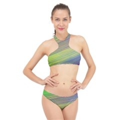 Diagonal Lines Abstract High Neck Bikini Set