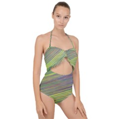 Diagonal Lines Abstract Scallop Top Cut Out Swimsuit