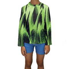 Green Tiger Background Fabric Animal Motifs Kids  Long Sleeve Swimwear