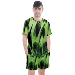 Green Tiger Background Fabric Animal Motifs Men s Mesh Tee And Shorts Set