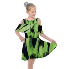 Green Tiger Background Fabric Animal Motifs Kids  Shoulder Cutout Chiffon Dress by Jojostore