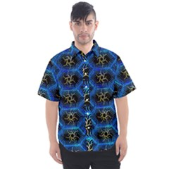 Blue Bee Hive Pattern Men s Short Sleeve Shirt