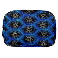 Blue Bee Hive Pattern Make Up Pouch (small) by Jojostore
