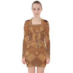 The Elaborate Floor Pattern Of The Sydney Queen Victoria Building V Neck Bodycon Long Sleeve Dress by Jojostore