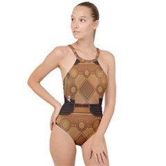 The Elaborate Floor Pattern Of The Sydney Queen Victoria Building High Neck One Piece Swimsuit
