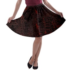Black And Red Background A Line Skater Skirt