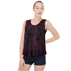 Black And Red Background Bubble Hem Chiffon Tank Top