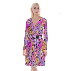 Floral Pattern Long Sleeve Velvet Front Wrap Dress by Jojostore