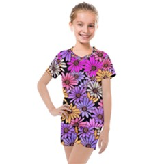 Floral Pattern Kids  Mesh Tee And Shorts Set by Jojostore