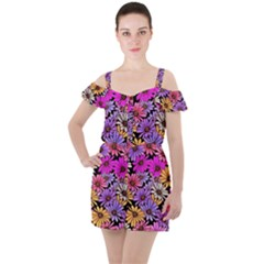 Floral Pattern Ruffle Cut Out Chiffon Playsuit