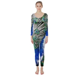 Animal Photography Peacock Bird Long Sleeve Catsuit by Jojostore