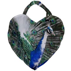 Animal Photography Peacock Bird Giant Heart Shaped Tote by Jojostore