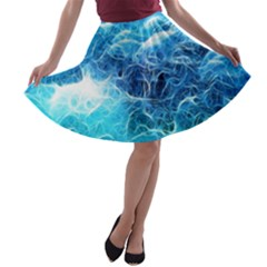 Fractal Ocean Waves Artistic Background A-line Skater Skirt by Jojostore
