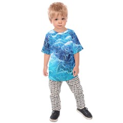 Fractal Ocean Waves Artistic Background Kids Raglan Tee by Jojostore