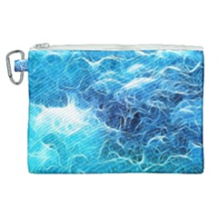 Fractal Ocean Waves Artistic Background Canvas Cosmetic Bag (xl)