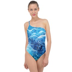 Fractal Ocean Waves Artistic Background Classic One Shoulder Swimsuit