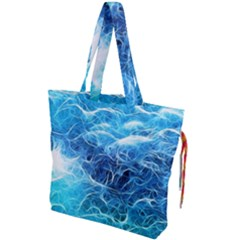 Fractal Ocean Waves Artistic Background Drawstring Tote Bag by Jojostore
