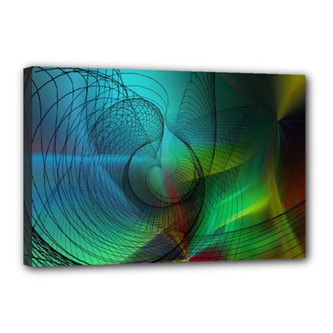 Background Nebulous Fog Rings Canvas 18  X 12  (stretched) by Jojostore