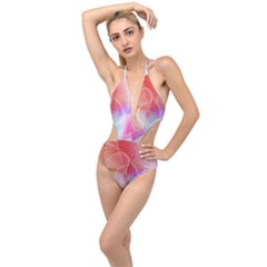 Background Nebulous Fog Rings Plunging Cut Out Swimsuit