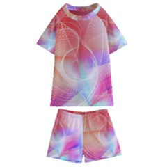 Background Nebulous Fog Rings Kids  Swim Tee And Shorts Set