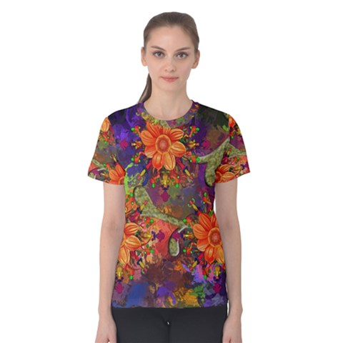 Abstract Flowers Floral Decorative Women s Cotton Tee by Jojostore