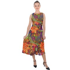 Abstract Flowers Floral Decorative Midi Tie Back Chiffon Dress
