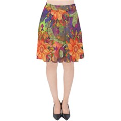 Abstract Flowers Floral Decorative Velvet High Waist Skirt by Jojostore