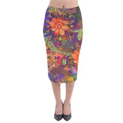 Abstract Flowers Floral Decorative Velvet Midi Pencil Skirt by Jojostore