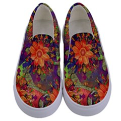 Abstract Flowers Floral Decorative Kids  Canvas Slip Ons