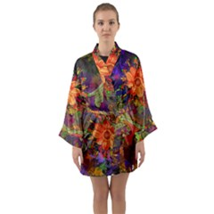 Abstract Flowers Floral Decorative Long Sleeve Kimono Robe by Jojostore