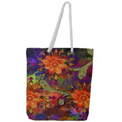 Abstract Flowers Floral Decorative Full Print Rope Handle Tote (large) by Jojostore