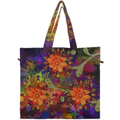Abstract Flowers Floral Decorative Canvas Travel Bag by Jojostore