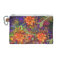 Abstract Flowers Floral Decorative Canvas Cosmetic Bag (large)