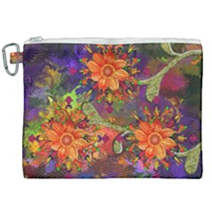 Abstract Flowers Floral Decorative Canvas Cosmetic Bag (xxl) by Jojostore