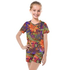 Abstract Flowers Floral Decorative Kids  Mesh Tee And Shorts Set by Jojostore