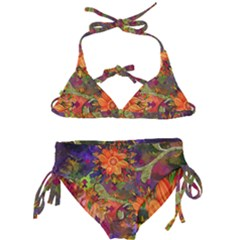 Abstract Flowers Floral Decorative Kids  Classic Bikini Set