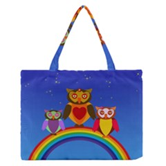 Owls Rainbow Animals Birds Nature Zipper Medium Tote Bag by Jojostore