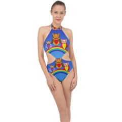Owls Rainbow Animals Birds Nature Halter Side Cut Swimsuit